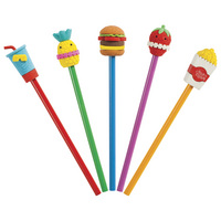 12pc Tub Pencil With Food Topper